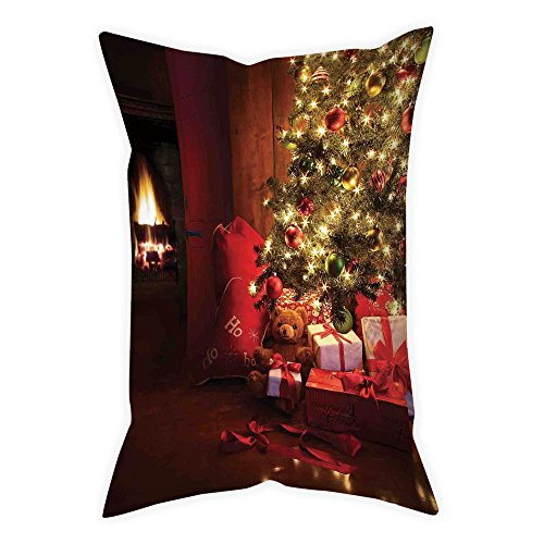 iPrint Polyester Throw Pillow Cushion Cover,Christmas,Xmas Scene with Decorated Luminous Tree and Gifts by the Fireplace Artful Image,Red Yellow,Decorative Square Accent Pillow Case by iPrint