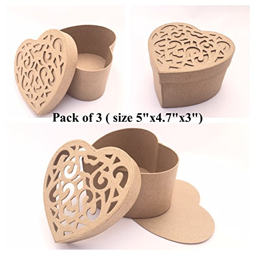 Set of 3 Plain Paper Mache Heart Shape Boxes with Curly Cut Lid 5