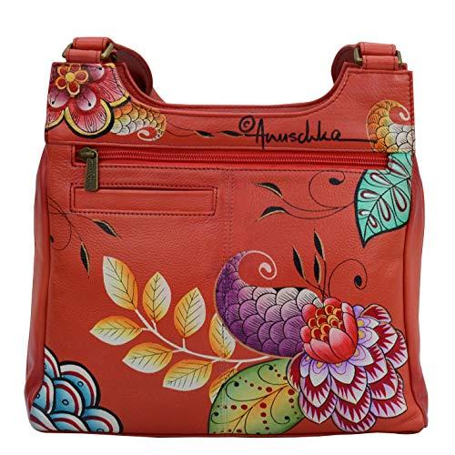 Anuschka Äkta läder för kvinnor klassisk flerfacksorganisatör satchel | Handmålad exteriör | Terra-cotta bukett