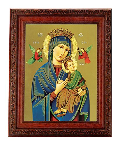 Hail Mary Gifts 1pc, Our Lady of Perpetual Help in an Ornate Detailed Antique Mahogany Finished Frame with Beaded Lip