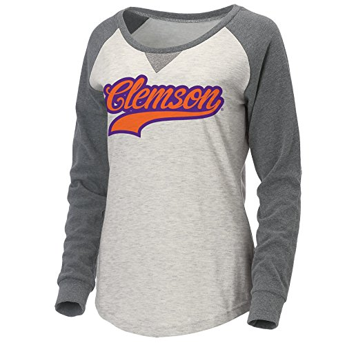 Ouray Sportswear NCAA Clemson Tigers Women's Color Block Scoop Neck Top, Oatmeal Heather/Graphite Hunter, X-Large
