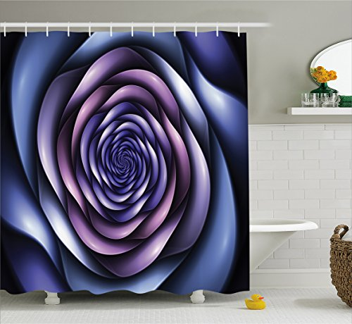 Hazy Violet - Ambesonne Spires Decor Shower Curtain by, Authentic Rose Petals Flower Shaped Spiral Hazy Lines New Futurist Design, Fabric Bathroom Decor Set with Hooks, 70 Inches, Violet Purple