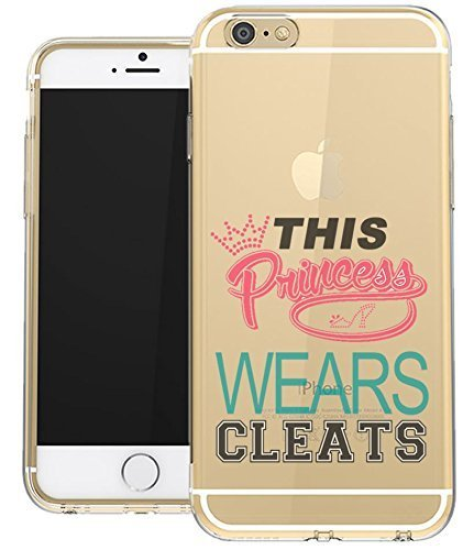 ne 7 Plus Clear Case This Princess Wears Cleats Soccer Softball Lacrosse Pink Quote Girls Teens UNIQUE Designer Transparent Gloss Candy TPU Flexible Slim Case Cover for Apple iPhone 7 PLUS 5.5 ()