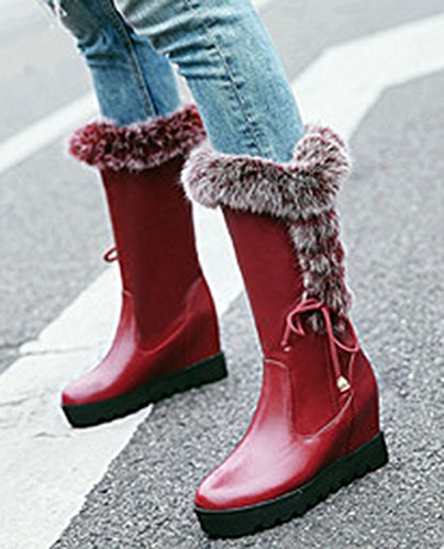 High Wedge Heels Snow String Calf Platform Red Warm Hidden Fur Boots Inside Mid Women's Faux IDIFU wTOXqIYX