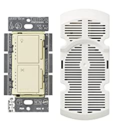 Lutron MA-LFQM-AL 300 Watt Maestro Multi-Location Fan and Light Control, Almond