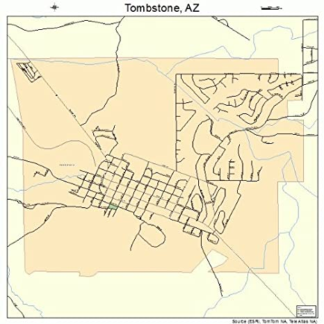 Amazon.com: Large Street & Road Map of Tombstone, Arizona AZ ...