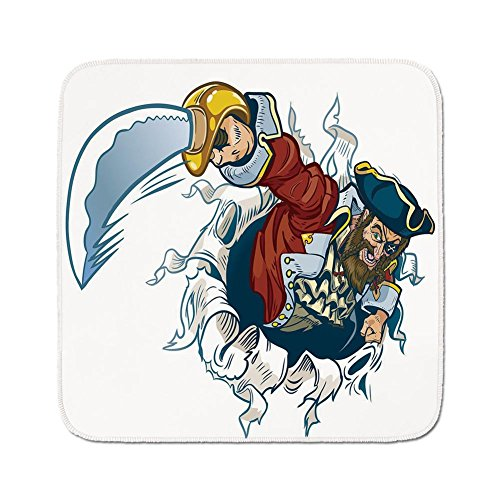 Cozy Seat Protector Pads Cushion Area Rug,Pirate,Cartoon Corsair Buccaneer Rips Out of Backdrop Effect Brandishing a Cutlass Image,Multicolor,Easy to Use on Any Surface (Drive Rip)