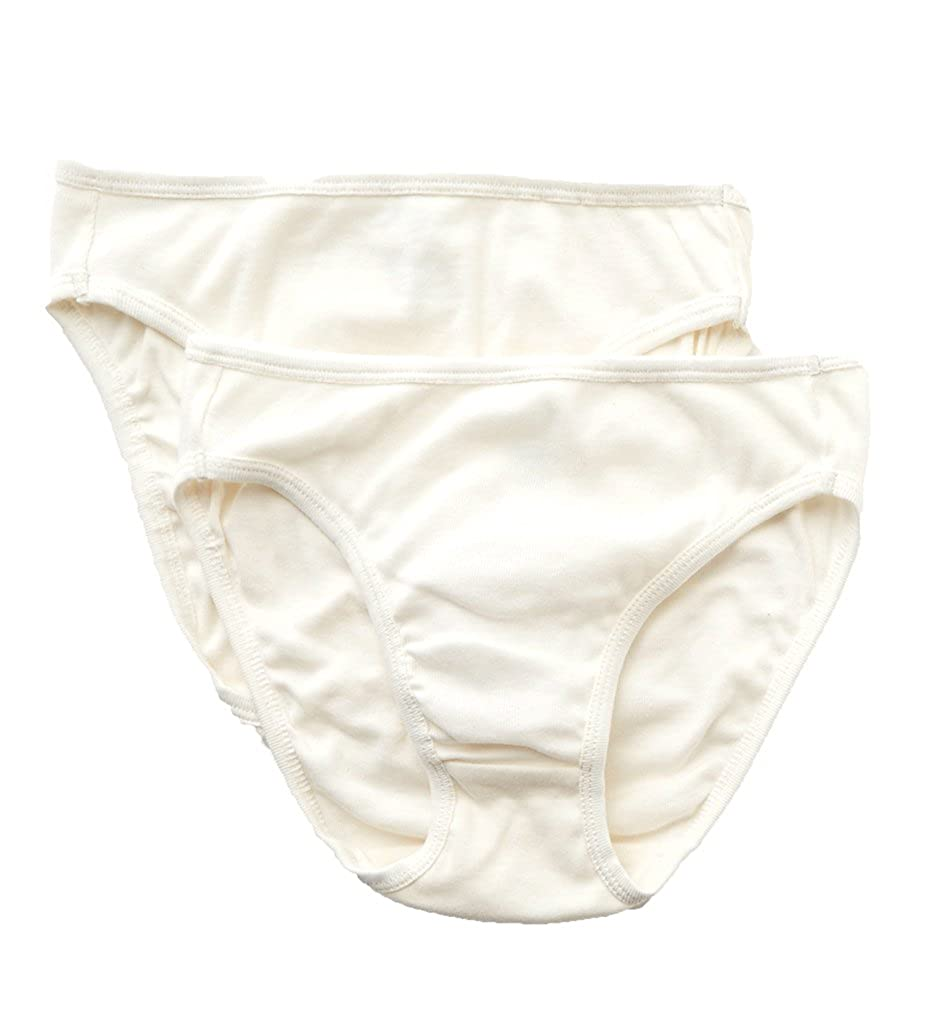 22d5f2df2be6 Cottonique Natural Organic Cotton High Cut Panty - 2 Pack (W22207C) at  Amazon Women's Clothing store: