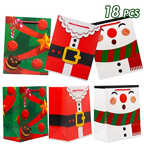 Lulu Home Santa Gift Bags, 18 PCS Christmas Gift Bags with Rope Handle, Holiday Medium Gift Bags for Party Favors