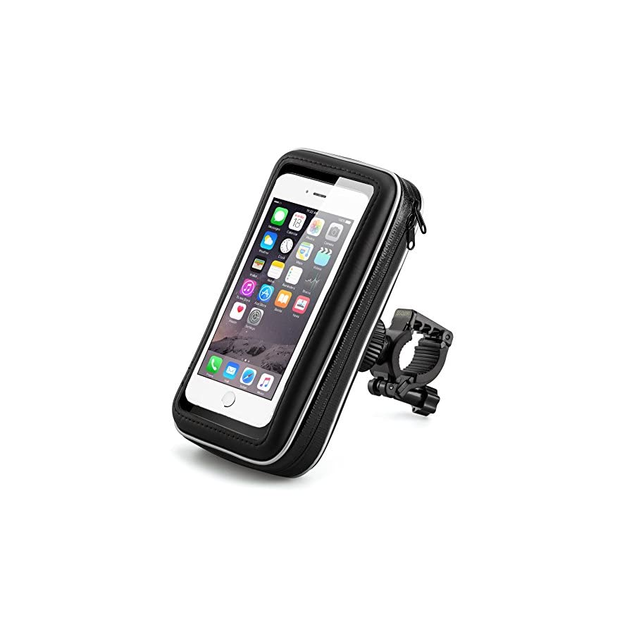 Bicycle Bike Phone Mount Holder, iKross Black Universal Waterproof Pouch Holster Cover Case with 360 Degrees Rotatable Fits iPhone 7, 7 Plus, 6, 6 Plus and Other Android Smartphone Devices