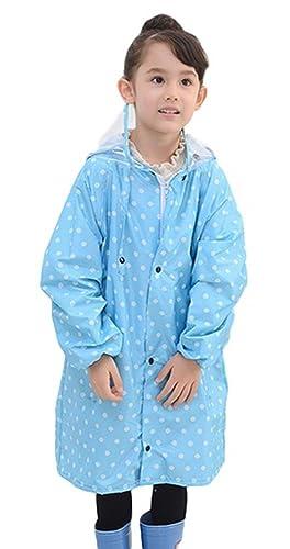 (DauStage)子供用レインコート水玉柄透明フード付きレインウェア2色4サイズ雨合羽雨具(07,ブルー L)