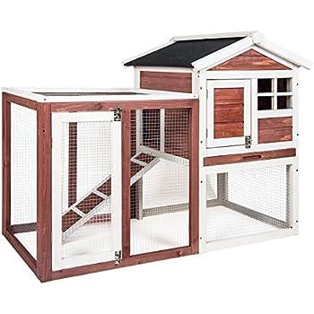 Merax Auburn and White Rabbit Bunny Hutch House with Black Linoleum Roof
