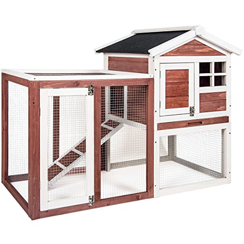 Merax Auburn and White Rabbit Bunny Hutch House with Black Linoleum Roof (Rabbit Cages)