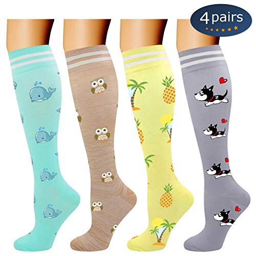 Ritta Compression Socks (2/3/4/7 Pairs),15-20 mmHg Best Athletic and Medical for Men and Women,Socks for Running, Flight, Travel, Athletic, Edema,Pregnancy,Relieve Pain (Cartoon 4 Pairs-1, L/XL)