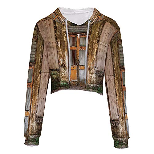 Sweatshirt Women 3D Pullover Sweatshirts S/M MultiDamaged Shabby House with Boa