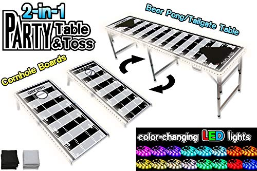 PartyPongTables.com 2-in-1 Oakland Football Field with LED Lights 2-in-1 Cornhole Boards & Beer Pong Tailgate Table with Color-Changing LED Glow Lights - Oakland Football Field