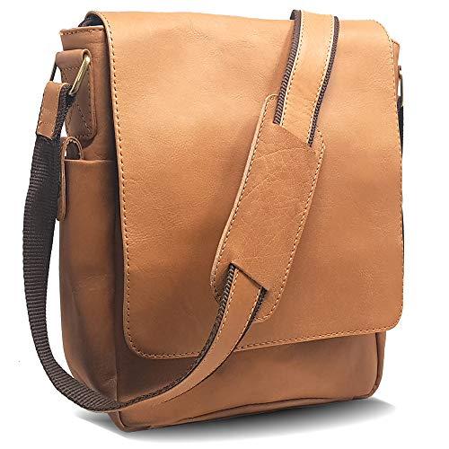 (Purple Relic Vintage Look Leather Tablet Man Bag, Sling Bag, Crossbody Messenger Satchel (3 Soft Tan))