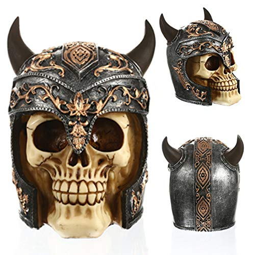 (AAA&LIU Statues Africa Home Decor Skull for Decoration Ox Horn Helmets Human Resin Skull Skeleton Abstract Sculptures Art Carving Statue)