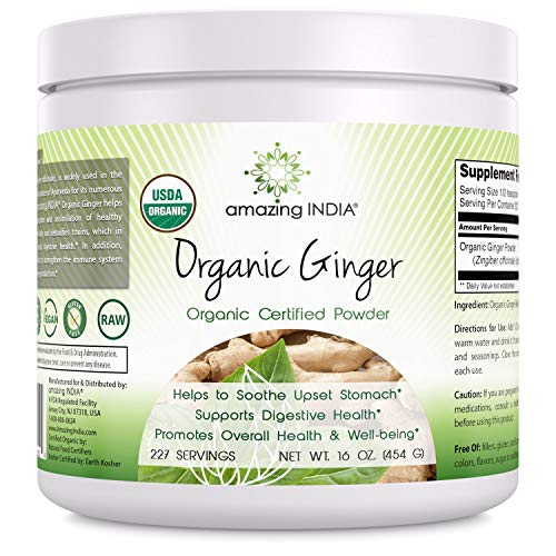 - Amazing India Organic Ginger Powder - 16 oz - Raw, Vegan- Gluten-Free, Plant-Based Nutrition – All-Natural Digestive Aid, Helps with Nausea and Upset Stomach, Promotes Heart and Immune Health*