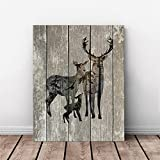 AmazingWall 30x40cm/11.8x15.7'' Frame Wooden Pattern Deer Elk Painting TV Background Living Room Bedroom Kids' Room Nursery Decor Home Decorations Removeable