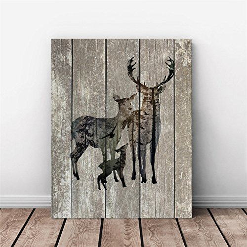 AMAZING WALL AmazingWall 30x40cm/11.8x15.7 Frame Wooden Pattern Deer Elk Painting TV Background Living Room Bedroom Kids' Room Nursery Decor Home Decorations Removeable