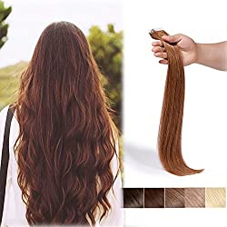16 Inch Tape in Human Hair Extensions 100% Remy Straight Human Hair Professional Seamless Tape Skin Weft Extensions 20pcs 30g/pack Light Chestnut Brown (16'',#6)+ 10pcs Free Tapes