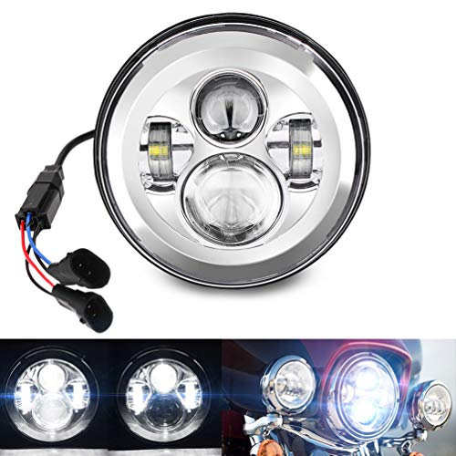 Belt&Road 7 Inch Round Super White LED Headlight for 2014-2017 Harley Davidson Street Glide Special and Road King Special,Hi-Lo Beam Headlamp With Dual Beam Adapter,Chrome Housing ()