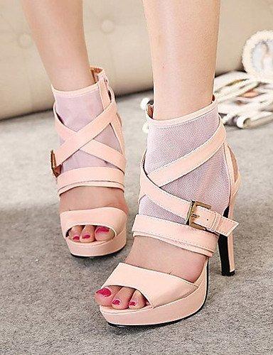 ShangYi Womens Shoes Leatherette Stiletto Heel Open Toe Sandals Dress Black / Pink / White White