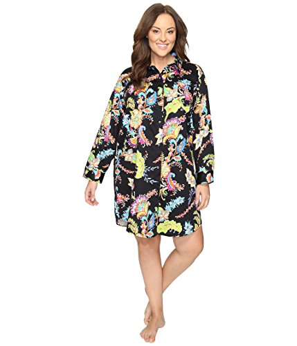 - LAUREN Ralph Lauren Women's Plus Size Sateen Sleepshirt Black Paisley