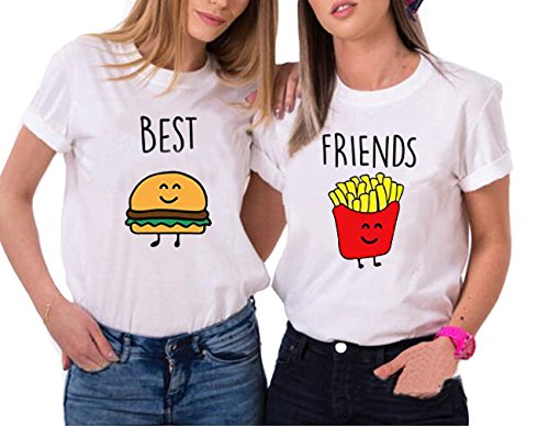 7a4391000a95 BFF t Shirts Cute Women Bestie Cotton Shirts Matching Printed Burgers  Friends Tops - Buy Online in Oman.