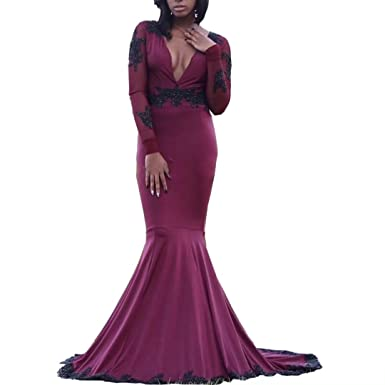 22e6fed150 DingDingMail Deep V-Neck Prom Dresses Long Sleeves Burgundy Backless Mermaid  Evening Gowns