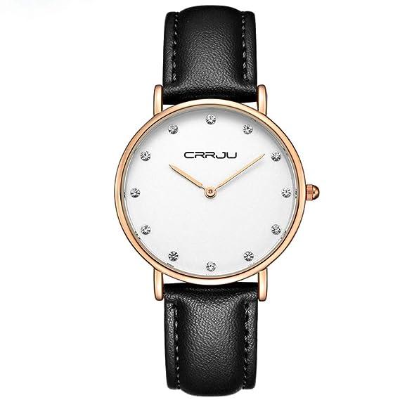 Simple Ultra Delgada Diamante de imitación Escala Relojes de Mujer, Piel sintética Cuarzo Relojes de Pulsera para Damas, Negro: Amazon.es: Relojes