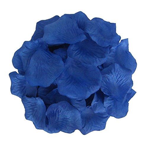 1000pcs Saphire Blue Silk Rose Petals Artificial Flower Wedding Party Vase Decor Bridal Shower Favor Centerpieces Confetti (Blue)