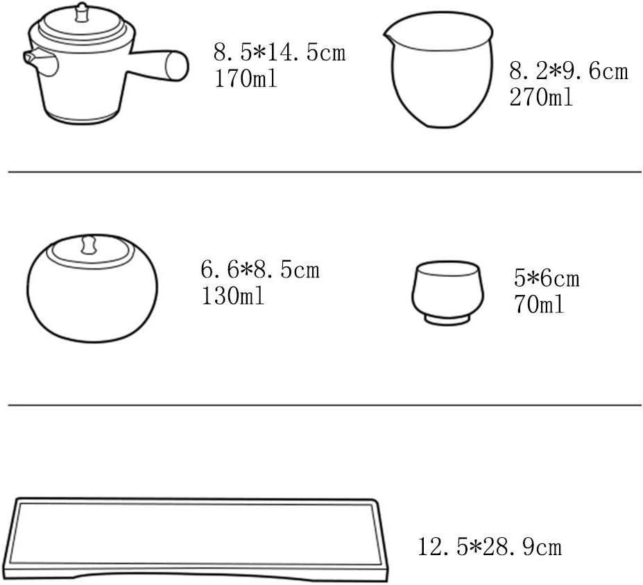 Teeservice Kung Fu Tee-Set japanische Art-einfache Teekanne und Tee-Set Home Office Tee-Set One Pot Zwei Tassen Kleiner Tee-Beh/älter Color : A