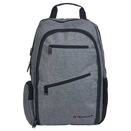 Large Lightweight Water-Resistant 19'' Laptop Backpack-For School, Travel & Recreation, for Men & Women (Heather Gray) by Teknon