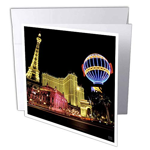 - 3dRose Paris Hotel and Casin at Las Vegas Strip United States - Greeting Cards, 6 x 6 inches, set of 12 (gc_37789_2)