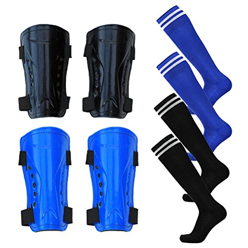Firelong 2 Pair Shin Guards Soccer Football Shin Pads Protector Calf Protective Gear for 5-15 Old Kids, Teenagers, Boys, Girls, with 2 Pair Long Sleeve Soccer Socks by Firelong