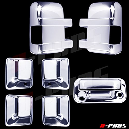 - A-PADS Chrome Covers Combo Set for Ford SUPER DUTY F250 F350 2008-2016 - Full Mirrors, WITH Signal + 4 Door Handles, WITH Passenger Keyhole + Tailgate, WITH Keyhole & WITH Camera Hole