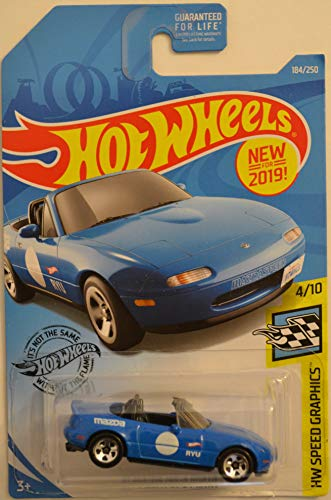 Hot Wheels '91 Mazda MX-5 Miata Blue 184/250 HW Speed Graphics Series 1:64 Scale Collectible Die Cast Model Car ()