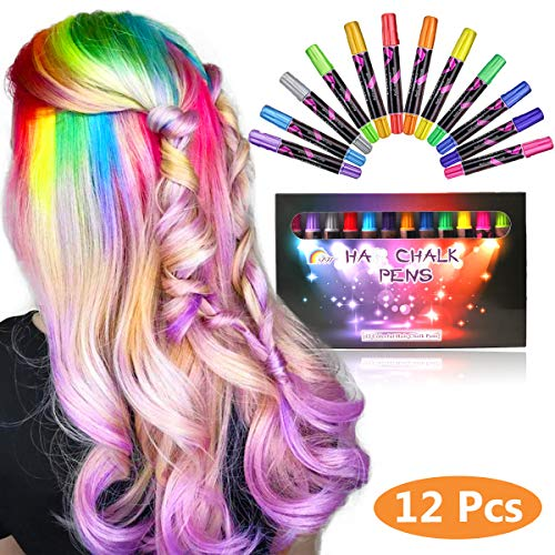 Hair Chalk Pens For Girls Kids,Hair Chalk Temporary Bright Hair Color Washable Hair Dye Safe For Kids Girls And Teen, Perfect For Birthday Gift,Party, Cosplay DIY (12 Colorful) -