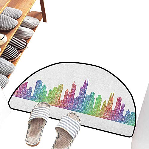 Waterproof Door mat Chicago Skyline Abstract City Scene in Mixed Rainbow Tones Modern Featured Artful Kitsch Easy to Clean W31 xL20 Multicolor