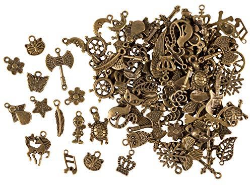 Keychain Charm Metal (Metal Charms - 100-Piece Mixed Animal Flower Cross Charms, Antique Pendants, Alloy Charms, Perfect for Accessories Keychains Bracelets Necklaces DIY, Jewelry Making, Craft, Assorted Designs and Sizes)