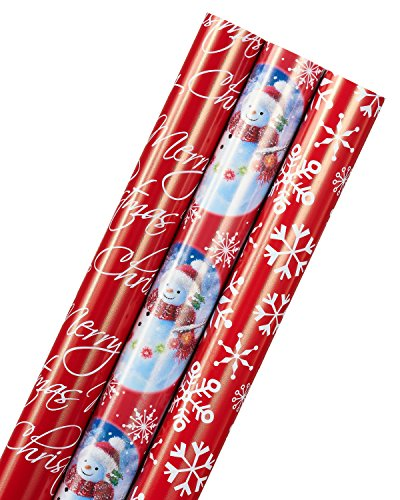 American Greetings Snowman, Christmas Script, and Snowflakes Wrapping Paper, 3 Roll - Christmas Assorted Wrapping Paper