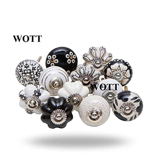 Set of 10 Assorted Vintage Black and White Hand Painted Ceramic Pumpkin and Round Knobs Cabinet Drawer Handles Pulls (WOTT)