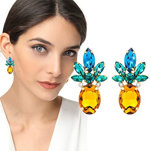 (Alaxy Cluster Crystal Teardrop Flower Design Stud Earrings, Sequined Tassel Ultra Light, Prom Style Earrings, Nightclub, Wedding Earrings, Girlfriend Gift Party Ladies Fashion Earrings (Pineapple) )