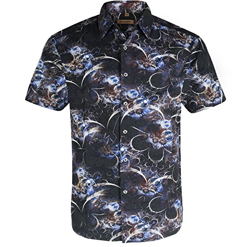 3 Button Casual Shirt - Coevals Club Men's Casual Short Sleeve Flower Shirt (Black/Blue #3, XL)