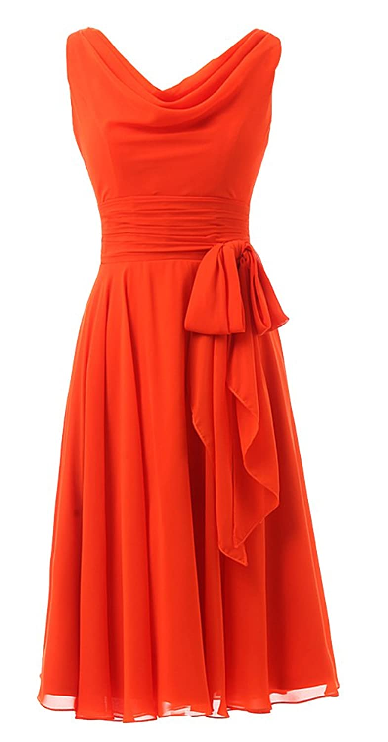 ALGL Women's Short Chiffon Formal Homecoming Bridesmaid Party Evening Prom Dresses Red