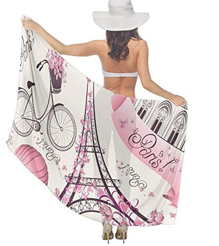 Eiffel Tower Costumes Three People - Women Silk Scarf Pink Paris Eiffel