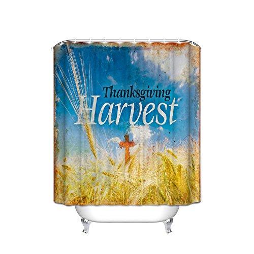 Thanksgiving harvest theme home decor shower curtain, wheat