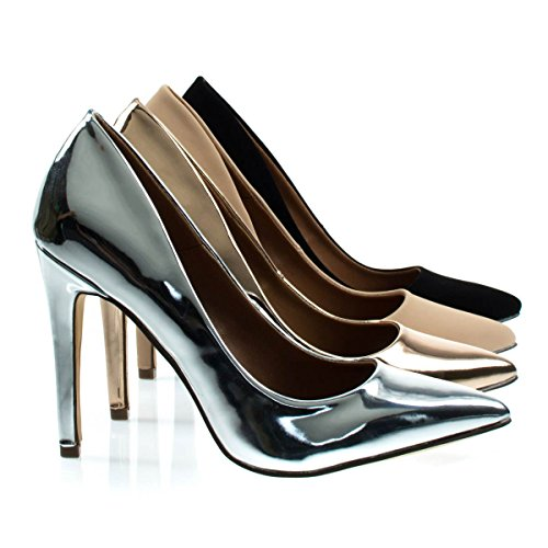 Cadence1 Silver Metallic Classic High Heel Dress Pump w Pointed Toe, Stiletto Heel & Padded Sole -8 (Classic Metallic Pumps)